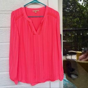 Tops - Vibrant hot pink long sleeve blouse